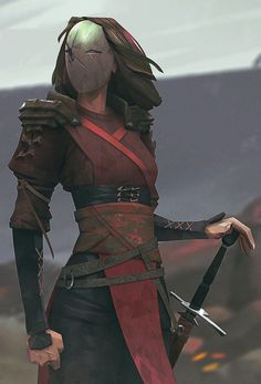 By CyberClays. Concept art design of a warrior wearing a metal mask and shoulder guards, and little armor. Dnd Characters, Fantasy Characters, Female Characters, Female Villains, Low Poly Characters, 3d Fantasy, Fantasy World, Fantasy Fighter, Fantasy Female Warrior