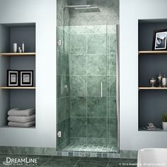 "DreamLine SHDR-20337210 Unidoor 72"" High x 34"" Wide Hinged Frameless Shower Door Chrome Showers Shower Doors Swing"