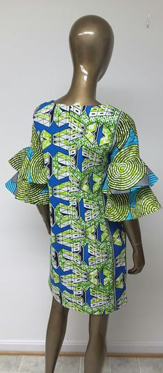 Colección AYAWAX. Africano impresión Mini vestido. Mangas de