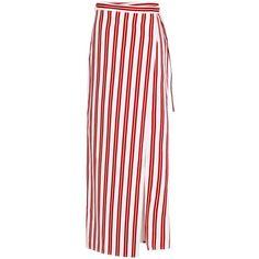 Balenciaga Striped Wrap Skirt (€360) ❤ liked on Polyvore featuring skirts, bottoms, front slit skirt, white skirt, vertical stripe skirt, folded skirt and print skirt