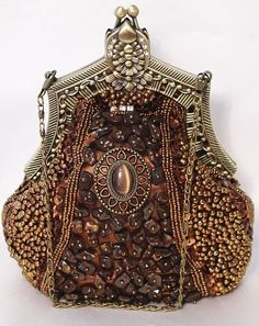 Brown Bronze Victorian Style Fully Beaded Crystal Purse Evening Bag