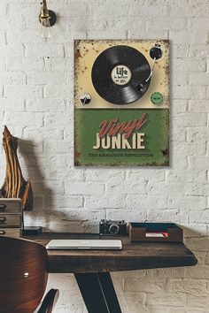 The Vinyl Junkie -  Metal Wall Sign