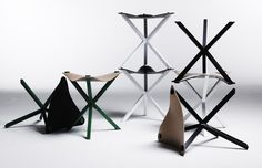 Stool designed by Per Söderberg. Frame of coated metal and seat of Swedish leather. Made in Sweden.