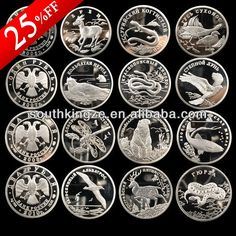 2006 - 2010 Russian Red Data Book rare wildlife silver plated coin