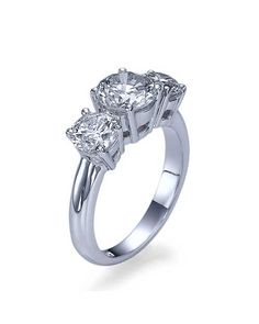 1.00ctw D-E/SI1-SI2 Trilogy 3-Stone Round Diamond Engagement Ring in 14k White Gold