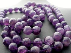 "Natural Amethyst Gemstone Hand Knotted Bead 30"" Estate Necklace Vintage Purple 