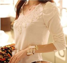 2014 brand autumn spring new women's casual shirt lace tops cute elegant long sleeves blouses-inBlouses & Shirts from Apparel & Accessories . Plus Size Cardigans, Plus Size Shirts, New Ladies Fashion, Fashion Women, Blusas Top, Plus Size Kleidung, Lace Tops, Plus Size Outfits, Korean Fashion