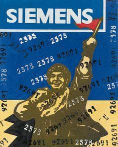 """Wang Guangyi – """"Great Criticism Series: Siemens"""" (2003) Silkscreen & Oil on Canvas"""