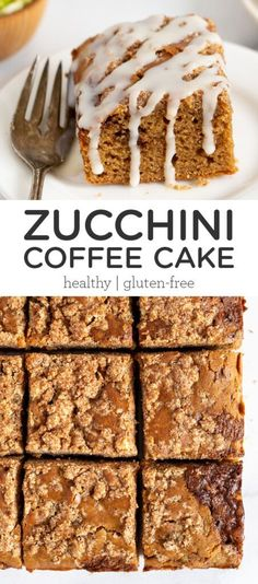 This healthy and gluten-free Zucchini Coffee Cake is perfect for breakfast or brunch! This homemade recipe is made with wholesome ingredients, is easy to put together and tastes amazing! Made with a blend of quinoa, almond and coconut flours and dairy-free yogurt for the BEST moist texture ever. Easy Gluten Free Desserts, Gluten Free Recipes, Healthy Recipes, Cake Recipes, Dessert Recipes, Vegan Meal Plans, Best Breakfast Recipes, Homemade Recipe, Coffee Cake