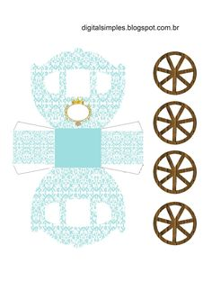 "Kit Aniversário Digital Gratuito para Imprimir Tema ""Coroa Real Azul"" para meninos. Composto por caixinhas para guloseimas, coroa real azul, convite, etc..."