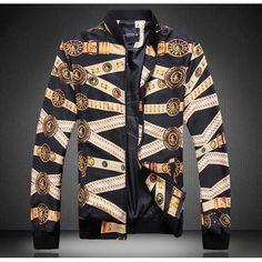 #Black art pattern print men's long sleeve zip cotton #jacket