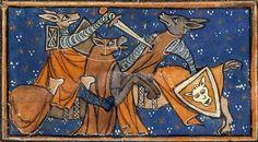 Zorros peleando - Renart hiere a Ysengrin en combate singular. Jacquemart Gielée, Renart le Nouvel. Manuscrit copié dans le Nord de la France, vers 1290-1300  BnF, Manuscrits, Français 1581 fol. 6v