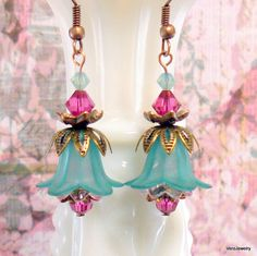 Items similar to Free Shipping - Teal and Pink Tulip Flower Earrings on Etsy