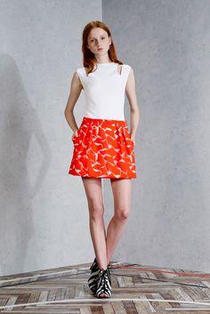 Viktor & Rolf | Resort 2015 | 17 White cut out sleeveless top and orange printed mini skirt
