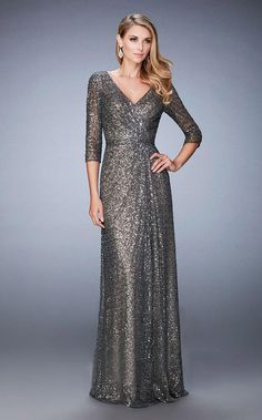 25fa2c56f32 La Femme - 21900 Sequined V-Neck A-Line Dress In Gray Sequin Evening