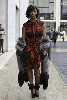Model Toccara Jones wears an Alexander McQueen dress, vintage fur and Yves Saint Laurent shoes - You go Toccara.