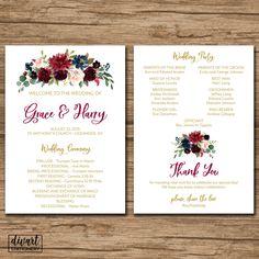 Floral Wedding Program, Ceremony Program Fan, Order of Events - rustic garden blush burgundy navy watercolor flowers peonies roses - Grace by DIVart on Etsy