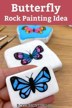 Rock Painting Supplies, Rock Painting Ideas Easy, Paint Ideas, Butterfly Painting Easy, Butterfly Crafts, Rock Design, Projects For Kids, Art Projects, Painting Process