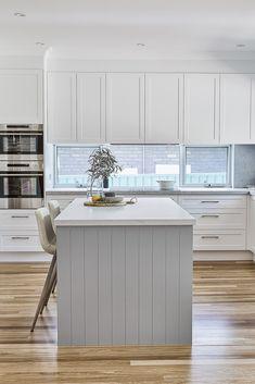 Grey Kitchen Island, Navy Kitchen, Kitchen Island With Seating, Kitchen Reno, Shaker Style Kitchens, Grey Kitchens, Bespoke Kitchens, Home Kitchens, Kitchen Cabinet Design