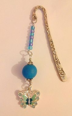 Blue beaded bookmark with butterfly charm by KaisCards on Etsy, £7.00
