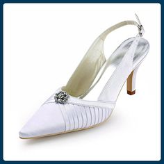 bb442252394 Minishion Women s Slingback Ivory Satin Bridal Wedding Evening Formal Party  Pumps Shoes US Size 10
