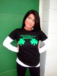 Stop Staring At My Shamrocks T-Shirt Funny Sexy St. Patrick's Day Irish St. Patty's Tee Shirt Tshirt Mens Womens Kids S-3XL