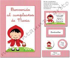 Kit de cumpleaños de Caperucita Roja, invitaciones, tarjetas mesa, etiquetas, toppers, servilleteros y cartel de bienvenida