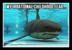 "My irrational childhood fear! THIS IS SOO ME :O i still got this fear. I will not lie, when i go in to pools i think ""i wonder if their is a shark in here"""