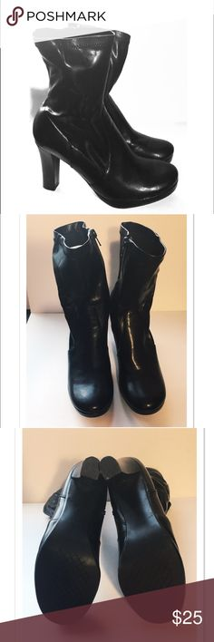 Black leather boots Size 6.5 Connie brand, size 6.5, Black leather, zip up sides (zippers need a little worn in), 3 inch heel, rounded toe, a little shorter than mid calf, worn maybe five times Connie Shoes Heeled Boots