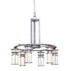 The ANCHORAGE Collection was inspired by the overlapping places of Frank Lloyd Wrights famous Fallingwater house. The prairie-style elements are modernized with Kalcos exclusive finishes. The Clear Seeded Glass adds a slight twinkle to the otherwise modern fixtures. 27.5″ Dia x 28.75″ H