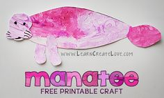 Learning About Manatees FREE Unit Studies and Printables - Homeschool Giveaways March Crafts, K Crafts, Summer Crafts, Projects For Kids, Crafts For Kids, Printable Crafts, Ocean Themes, Animal Crafts, Toddler Crafts