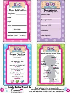 Med Cards, Doc McStuffins, Stationery - Free Printable Ideas from Family Shoppingbag.com