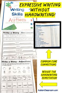 These printables may work great for students in grade 1, 2, 3, 4, or 5 whose special needs include developmental delays or it may work for younger students in primary grades learning to develop expressive writing skills. This packet includes writing related worksheets that require variations in response styles for many answers. (Ex. matching, cutting and pasting to produce written products.) #autism #writing #printables