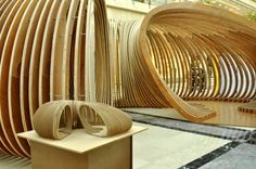 Pavilion Exhibition: Designed and constructed by students from the College of Architecture, Kuwait University Architecture Drawings, Architecture Design, How To Bend Wood, Pavilion Design, Parametric Design, Organic Architecture, Wood Texture, Wood Design, Design Inspiration