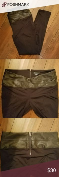 Bebe Faux Leather Leggings Bebe leggings angled seams and faux leather waistband. Stunning curve coverage. Exposed back zip closure. Previously loved, still in great condition.   86% Nylon, 14% spandex bebe Pants