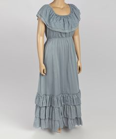 This Gray Frill Peasant Dress - Plus by Sol Clothing is perfect! #zulilyfinds