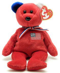 America (red, blue right ear) - bear - Ty Beanie Babies