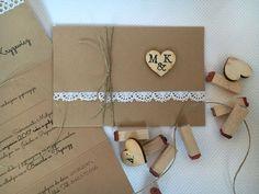 Zaproszenia ślubne rustykalne z akcentem stempli na drewnianym sercu ❣