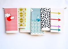 You Pick! Choose sets of 3, 6 and 12 hand printed, decorative kitchen towels