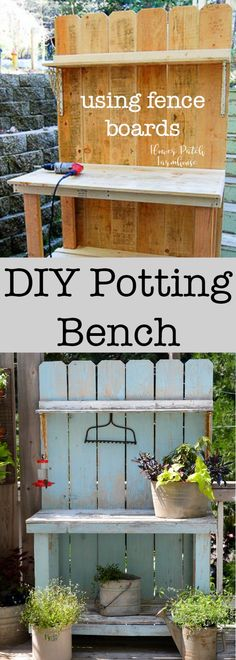 DIY Potting Bench using Fence boards. A budget friendly DIY build that I use for many things, not just potting plants! Come see how we put this easy potting bench together for around $40 via @FlowerpatchPam