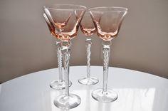 Vintage Stemware Hand Blown Pink Peach Set of 4 by ClassicKarma