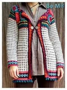 Bo-M: Casaco Jackard Crochet Cardigan Pattern, Crochet Jacket, Crochet Blouse, Crochet Wool, Crochet Winter, Crochet Shawl, Crochet Squares, Crochet Granny, Granny Squares