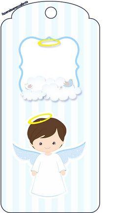 Christening Invitations Boy, Baptism Favors, Angel Theme, Baby Shawer, Angel Crafts, Boy Baptism, Baby Album, First Holy Communion, Party Kit