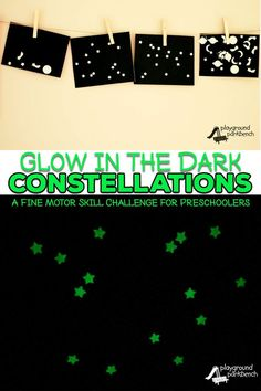 Study the stars, but save your walls with our Glow in the Dark Constellations. Using our DIY Constellation Projector and black poster board, you can make constellations as large as you like and they are portable too! A great fine motor skill challenge for Space Activities For Kids, Space Preschool, Stem Activities, Science Experiments Kids, Science For Kids, Science Projects, Mad Science, Sistema Solar, Learning Activities