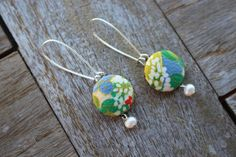 Colourful Kimono Earrings fFbric earrings Japanese by CocoBAYCON