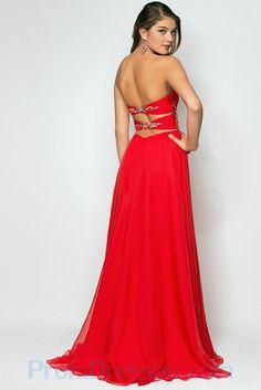 Full Length Sweetheart Chiffon Beaded Empire Red Prom Dress