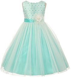 AkiDress Circle Pattern Tulle TLength Flower Girl Dress for Big Girl Aqua 6 -- Find out more about the great product at the image link. Birthday Girl Dress, Birthday Dresses, Flower Girl Dresses Boho, Girls Dresses, Beach Wedding Colors, Fossil Watches, Rings For Girls, Circle Pattern, Little Princess