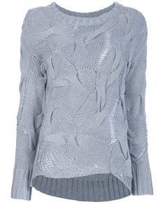 Grey cotton blend sweater from Michael Michael Kors featuring a crew neck, a deconstructed cable knit with loose knit detailing, long sleeves with ribbed cuffs, and a ribbed rear hem.