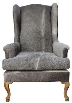 Grey cow hide chair