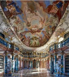 The library of kloster wiblingen ist without any doubt a masterpiece of german late baroque architecture thank you maik wtf for capturing the beauty of this incredible place versaillesadness_ pediments classical elements of ancient architecture Architecture Baroque, Architecture Sketchbook, Architecture Logo, Architecture Collage, Futuristic Architecture, Concept Architecture, Classical Architecture, Ancient Architecture, Amazing Architecture